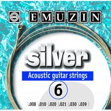 """Струны для акустической гитары """"SILVER"""" 08-39 EMUZIN 6А201"""