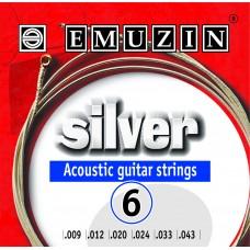 """Струны для акустической гитары """"SILVER"""" 09-43 EMUZIN 6А202"""