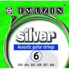 """Струны для акустической гитары """"SILVER"""" 10-48 EMUZIN 6А203"""