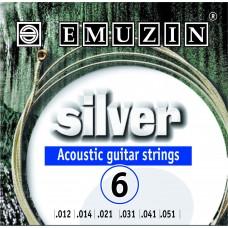 """Струны для акустической гитары """"SILVER"""" 12-51 EMUZIN 6А204"""