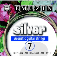 """Струны для семиструнной акустической гитары """"SILVER"""" EMUZIN 7А222"""